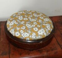 Antique Round Oak Footstool with Newly Upholstered Top (Mustard & Flower Design)