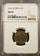 1913S Buffalo Nickel Type 2 Nice AU53 Graded NGC