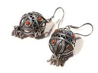 Bijou argent 925 boucles d'oreilles boules réhaussées de corail earrings
