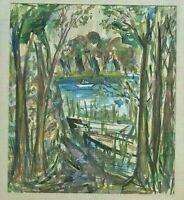 Mid Century Modernist W/C Landscape Scene Circa 1955, Signed