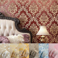 10M 3D Crystals European Gold Damask Embossed Textured Non-woven Wallpaper Roll