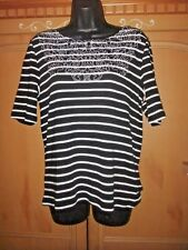RAFAELLA XXL EMBROIDERED STRIPE TOP BLACK/WHITE NEW W/TAGS SS COTTON STRETCH