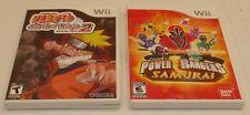 "Nintendo Wii Lot Naruto ""Clash of Ninja Revolution 2"" & Power Ranges VIDEO GAMES"
