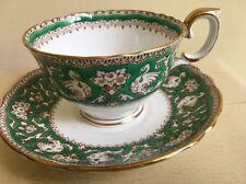 CROWN STAFFORDSHIRE FINE BONE CHINA TEA CUP & SAUCER ELLESMERE PATTERN Green