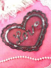 "GB361 Sequin Applique Silver Black Love Heart Patch 6.25"""