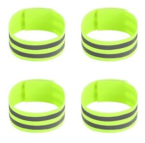 2 x Yellow Reflective Hi-Vis Armbands Ankle Straps Adjustable Cycling Running