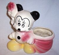 Vintage Mid Century Mickey Mouse Walt Disney Productions USA Porcelain Planter