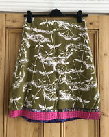 Ladies White Stuff Pink Green Jersey Reversable A-Line Skirt UK Size 10