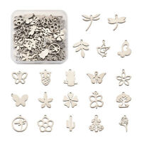 10pcs 304 Stainless Steel Scallop Shell Charms Mini Metal Pendants Craft 14x13mm