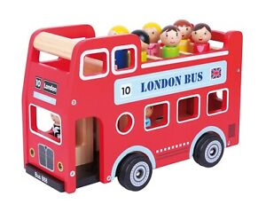 Wooden Double Decker Red London Sight Seeing Bus with Driver Passengers Figurine