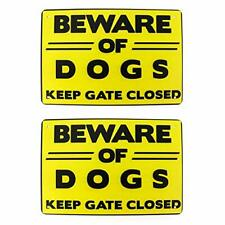 """New listing QWORK Beware of Dog Sign for Fence/Garden, 2 Pack, """"Keep Gate Closed"""",Metal"""