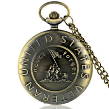 Vintage US Veteran Army Bronze Quartz Pocket Watch Pendant Necklace Gift Dulcet