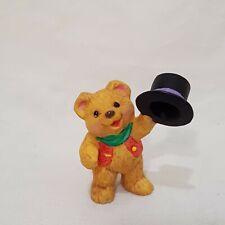 "Teddy Bear Top Hat Hallmark Resin 1"" 1996 Merry Miniatures Snowbear Season"