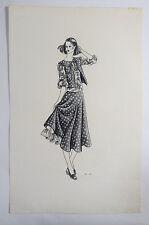 Original VTG Hand Drawn Fashion Design Sketch, Circa 1960s, Ink & Paint, Skirt