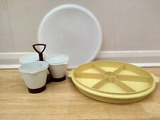 Tupperware vintage 70s round storage dish and 3 piece condiment set