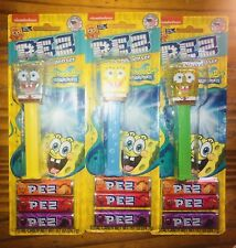 3 Spongebob Pez Bubbles,Yellow,Crystal,& Glitter On Blister Cards