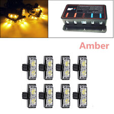 8X 2 Amber LED  Light Grill Construction Utility Warning Strobe Flash Hazard 12V