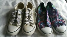 2 pairs Converse All Star Sneakers Gold Canvas Women's 5 Satin Swirl Kids 2