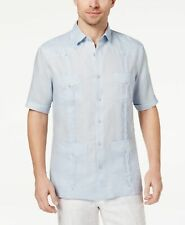 7f8e621a $115 TASSO ELBA Mens FIT BLUE LINEN SHORT-SLEEVE BUTTON POCKET GUAYABERA  SHIRT L