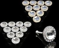 10 Pcs 30mm Diamond Crystal Glass Shape Cabinet Knob Cupboard Drawer Pull Handle
