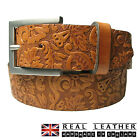"35mm Ladies Tan Full Grain Hide 100% Real Leather Belt Made In UK Sizes 28""-44"""