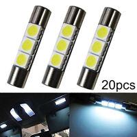 20PCS 29mm 3SMD 12V LED Fuse Car Vanity Mirror Light Sun Visor Lamp Bulb White