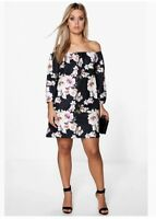New With Tags Boohoo Audrey Boho Floral Off Shoulder Shift Dress. Plus Size L 18