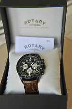Rotary Gents Brown Leather Strap Black Dial Chronograph Watch GS03908/04 SA11