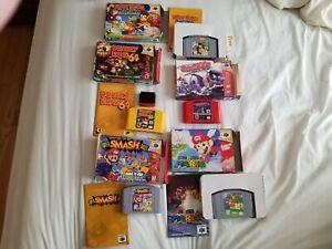 Nintendo N64 Video Game Lot, CIB, Super Smash Bros, Super Mario 64, Donkey Kong!
