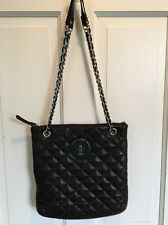 DKNY Black Quilted Soft Leather Silver Chain handbag bag purse tote shoulder