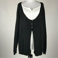 Michael Kors Women Black White Faux Insert Knit Long Sleeve Sweater sz XL