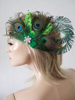 Bridal Peacock Feather & Crystal Lime Olive Emerald Green Clip Fascinator MNB118