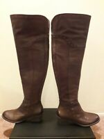 Vince Camuto Bestan Brown Leather Grommet Over Knee Riding Boots (7.5)