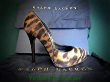 New RALPH LAUREN Collection Tan Tiger JENESA Haircalf Leather Pumps Shoes 37Uk 4