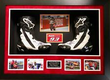 MARC MARQUEZ PERSONALLY SIGNED RACE WORN BOOTS IN A QUALITY FRAME