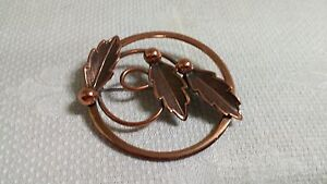 Vintage Bell Copper Solid Copper Embossed Leaf & Berry Circle Brooch Pin