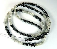 29.00 Cts Beautiful Rough Beads Natural Loose diamond Black White 16 inches Q58