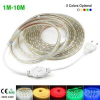 5050 LED Strip 220V 240V Flexible tape rope Light 1M-10M Waterproof SMD 60leds/m