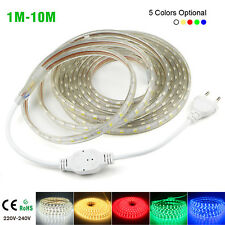 5050 LED Strip 220V 240V Flexible tape rope Light 1M-10M Waterproof SMD 60leds/m