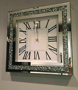 New Elegant Design Loose Diamante Mirrored Wall Clock Crushed Jewel Roman Number