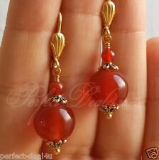 Red Carnelian Agate Gold Plated Leverback round dangle Earrings