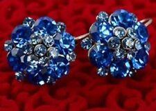 Elegante Strass Blu Argento Hoop Orecchini Diamante Fiore Piercing E39
