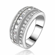 Nobby White Topaz Men Womens 18K Gold Filled Engagement Wedding Ring Size 9