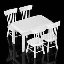 5 piece Model table chair a Manger Set Furniture Doll House Miniature White L4L7