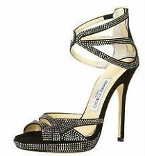 Jimmy Choo DOMINO Suede Crystal Embellished Platform Sandals Shoes Black 37.5
