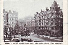 France Lyon - Place de la Republique Siege Social old used not mailed postcard