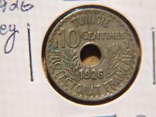 1926 TUNISIA 10 CENTIMES VF-XF MUHAMMEAD AL-HABIB KEY DATE COIN