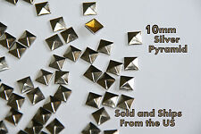 100ct   10mm Silver Pyramid FlatBack Studs Hotfix  Iron On Glue On- iPhone Case