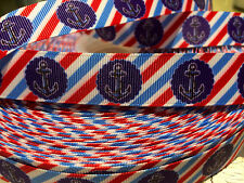 "7/8"" NAUTICAL ANCHOR DIAGONAL STRIPE Grosgrain Ribbon Sold By The Yard"