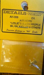 Details West HO #326 Air Horn (Brass) Leslie S-3L-R Low Profile, BN,GN,Katy,CR &